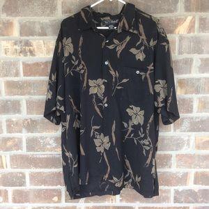 Tori Richard Black & Brown Hawaiian Shirt 2XL